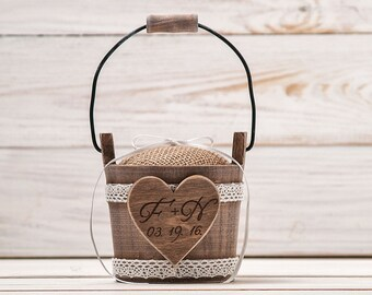 Wedding Ring Pillow Ring Bearer Pillow Ring Box Rustic Ring Pillow Alternative Ring Cushion Burlap Ring Holder Wedding Ceremony