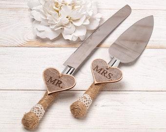 Wedding Cake Server and Knife, Rustic Wedding Cake Serving Set, Personalized Cake Server Set, Outdoor Wedding Cutting Set, Rustic Knife Set