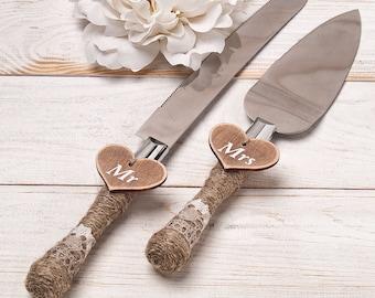 Rustic Wedding Cake Server and Knife, Cake Serving Set, Cake Cutter Cutting Set, Cake Shovel, Personalized Mr & Mrs Server