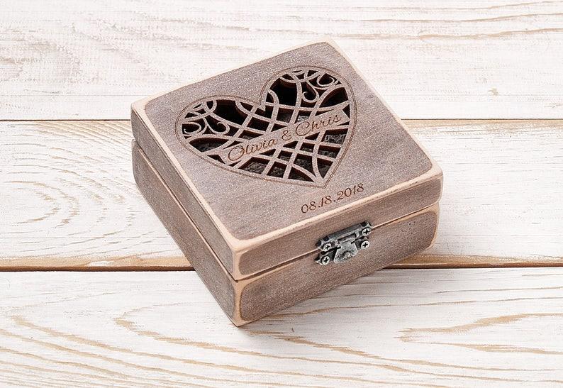 Ring Bearer Box Ring Pillow Personalized Ring Box Custom Wooden Box Wedding Ring Box Ring Bearer Box Rustic Wedding Ring Holder