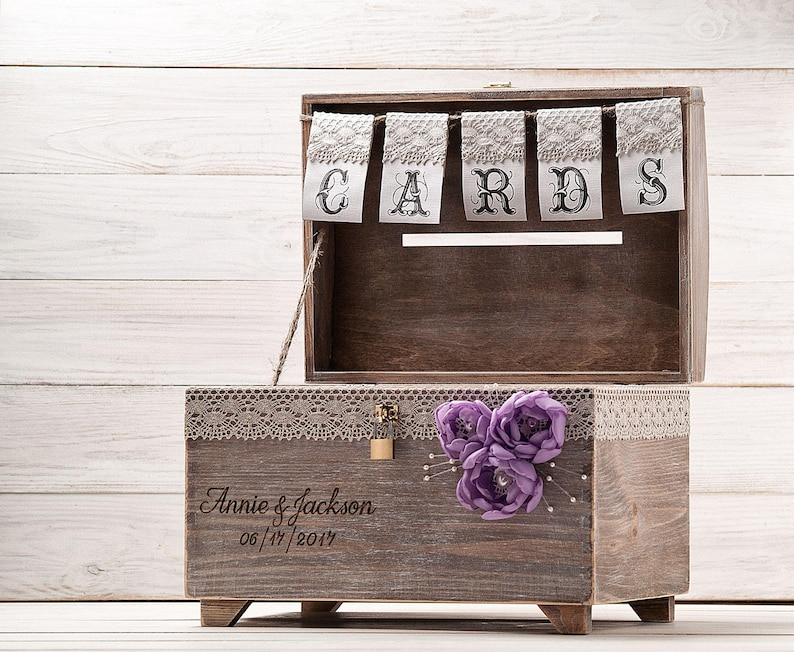 personalized card box with lock and key wedding card post