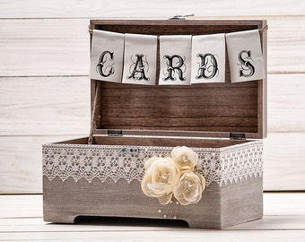 Wedding Rustic Cards Box Rose Wedding Card Box Rustic Wood Card Holder Wedding Card Chest Wedding Card Gift Box with Rustic Banner Sign