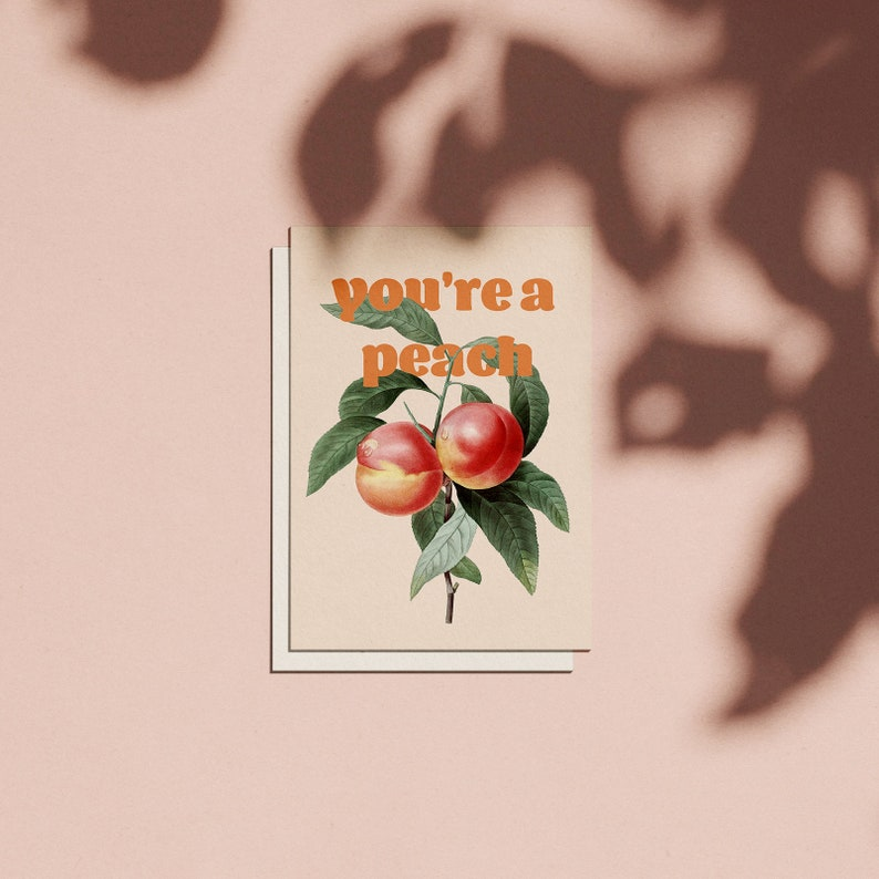 Vintage Floral 'You're a Peach' Birthday Card image 0