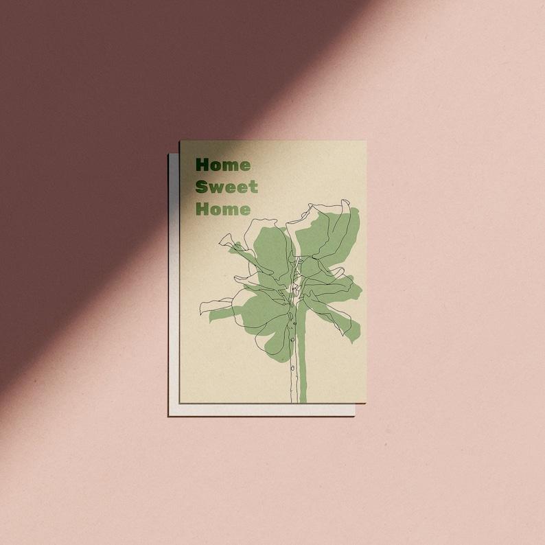 Home Sweet Home Minimal Botanical Greetings Card image 0