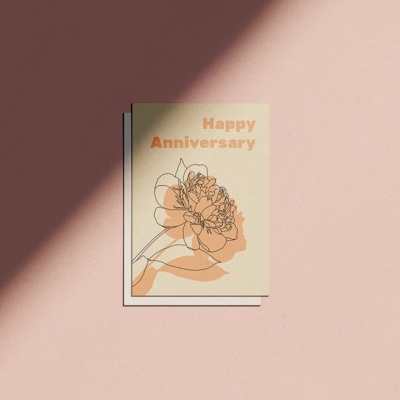 Happy Anniversary Minimal Botanical Greetings Card image 0