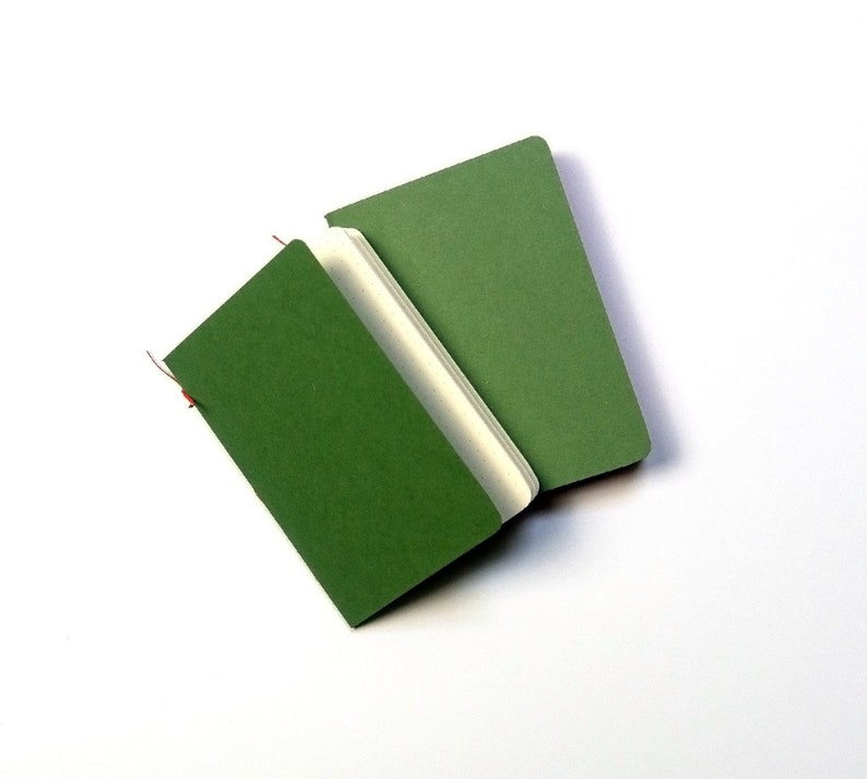 Set of two handmade green pocket notebooks image 0