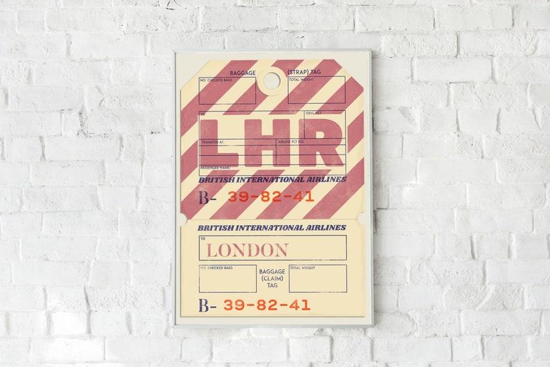 London Print  Vintage Baggage Ticket Travel Poster image 0