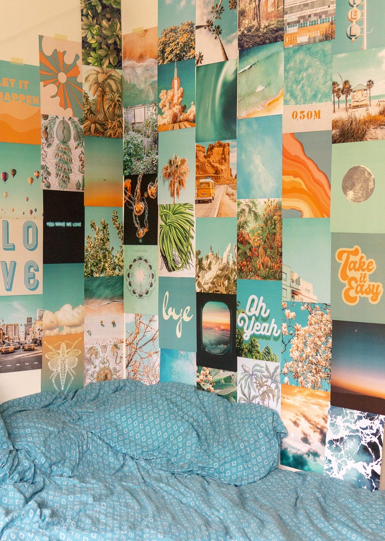 Summer Blue Collage Kit  Collage Wall Decor image 0