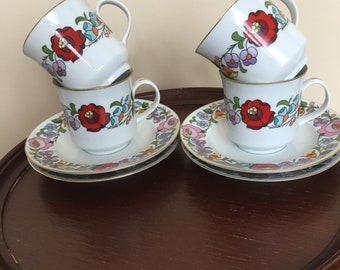 Vintage Kalocsa of Hungary Hand Painted  Espresso  Set of Four Cups and Saucers Fine Porcelain Traditional Motif Ethnic  Mother's day Gift