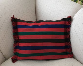 """Cushion cover pillow cover multicolored fringed  designer cushion cover cotton 17"""" by 12.5"""""""