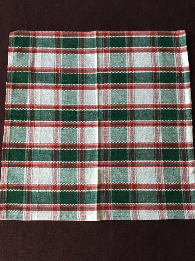 Christmas  Dinner Napkins Set of Four Tartan Style Pattern in Red Green White Silver  Eco friendly Machine-washable Reusable  18 by 18