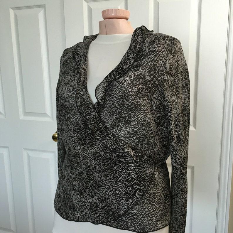 Black Blouse Dainty Floral  Print On Black Chiffon Top Wrap Around Style V Neck Long Sleeves Size Medium Petite