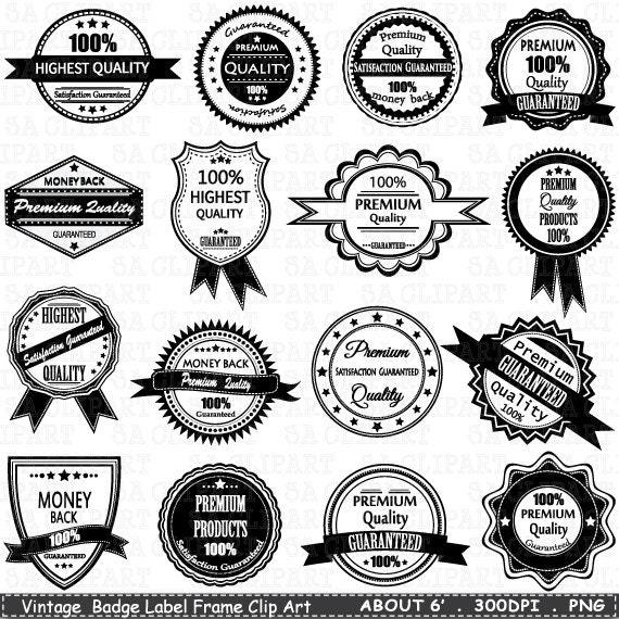 Vintage Badge Label Frame ClipArt BADGE LABELclip | Etsy