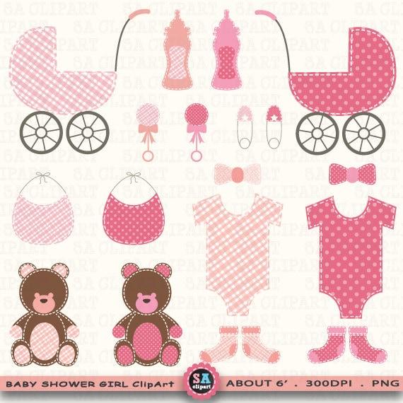 Baby Shower Girl Clipart Baby Shower Girlclip Etsy