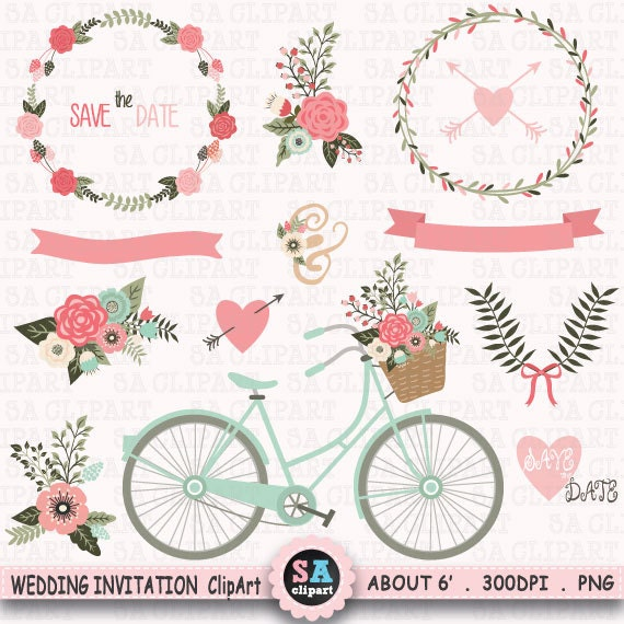 wedding invitation clipart wedding clip art floral bicycle banner rh etsystudio com tree clipart for wedding invitations tree clipart for wedding invitations