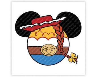 Toy, Story, Jessie, Cowgirl, Minnie, Mouse, Head, Icon, Ears, Digital, Download, TShirt, Cut File, SVG, Iron on, Transfer