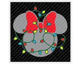 Disney, Christmas, Holiday, Lights, Minnie, Mickey, Mouse, Head, Ears, Digital, Download, TShirt, Cut File, SVG, Iron on, Transfer