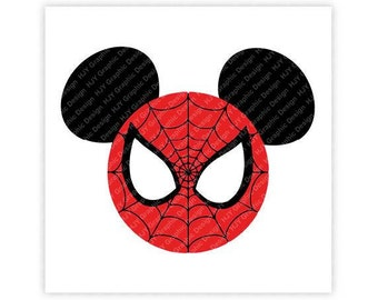 Disney, Marvel, Spiderman, Super Hero, Icon Mickey Mouse Head, Mouse Ears, Digital, Download, TShirt, Cut File, SVG, Iron on, Transfer