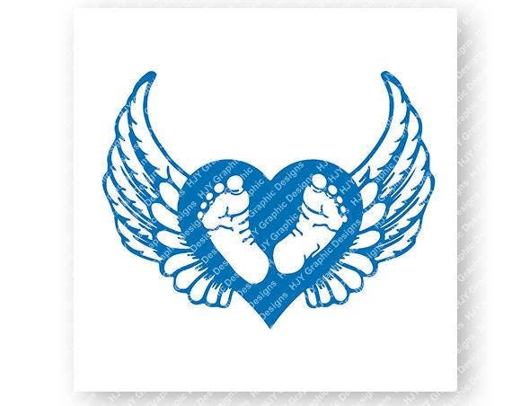 Baby Footprints Blue Wings Halo Digital Download Etsy