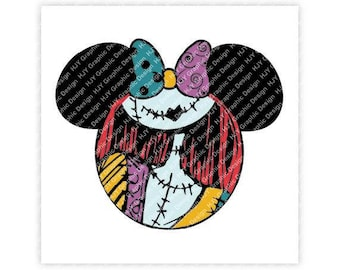 Disney, Nightmare Before Christmas, Sally, Mickey, Minnie, Mouse, Head, Ears, Icon, Digital, Download, TShirt, Cut File,SVG,Iron on,Transfer