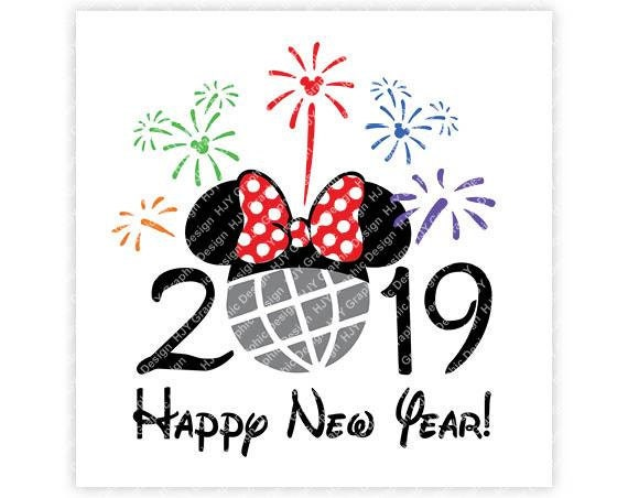 Disney Happy New Year 2019 Epcot Fireworks Minnie Head | Etsy
