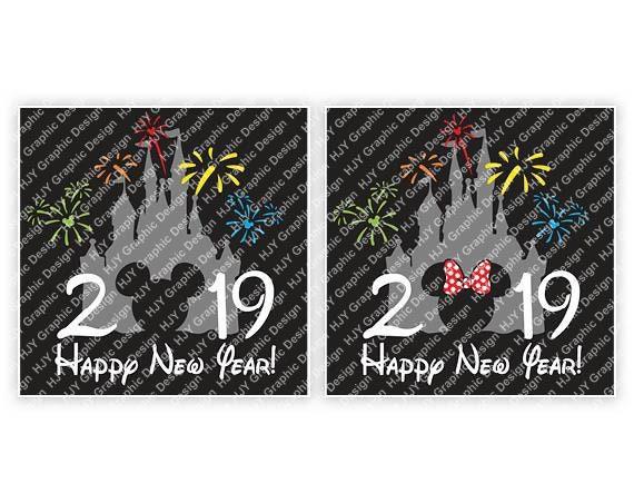 Disney Happy New Year 2019 Castle Fireworks Mickey | Etsy