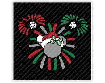 Disney, Christmas, Fireworks, Santa, Snowflake, Minnie, Mouse, Head, Ears, Digital, Download, TShirt, Cut File, SVG, Iron on, Transfer