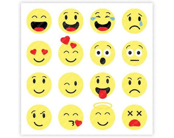 Emoji, Face, Happy, Sad, Mad, Love, Scared, Kiss, Heart, Smile, Wink,  tongue, Digital, Download, TShirt, Cut File, SVG, Iron on, Transfer