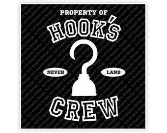 Disney, Property of Hook's Crew, Never Land, Peter Pan, Captain Hook, Pirate, Digital, Download, TShirt, Cut File, SVG, Iron on, Transfer