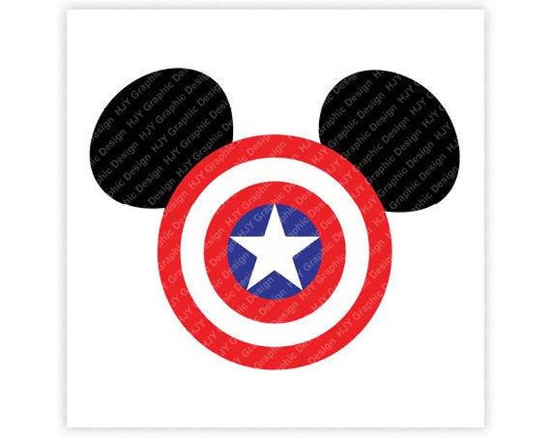 Disney, Marvel, Captain America, Super Hero, icon, Mickey, Mouse, Head,  Ears, Digital, Download, TShirt, Cut File, SVG, Iron on, Transfer