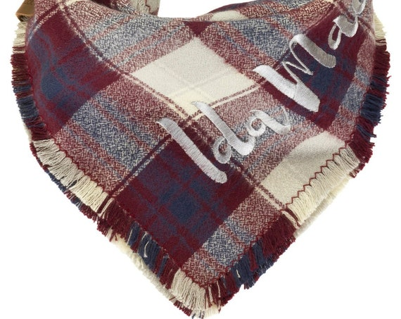 Burgundy Navy Gray Plaid Dog Scarf