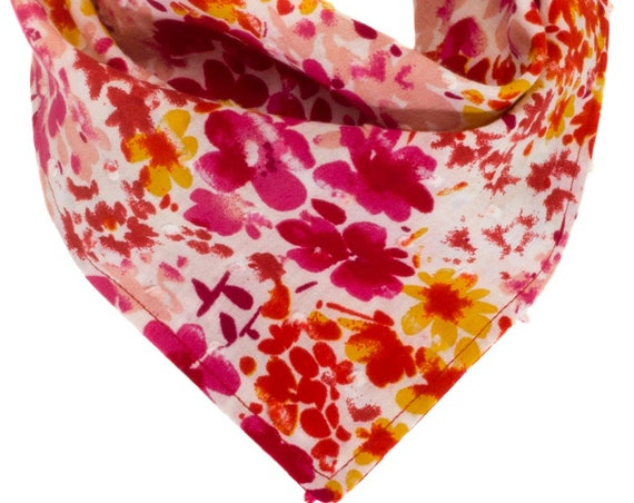Red Fuchsia Floral Dog Bandana