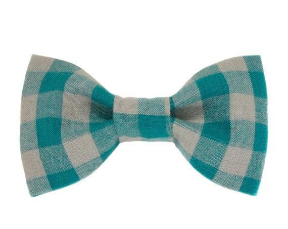 Turquoise and Gray Buffalo Plaid Dog Bow Tie