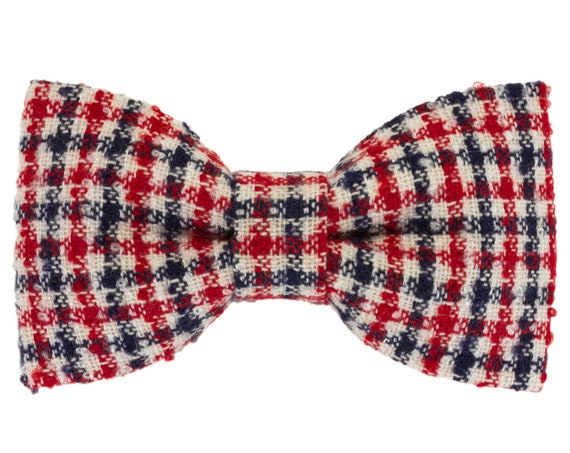Red and Navy Blue Plaid Wool Dog Bowtie