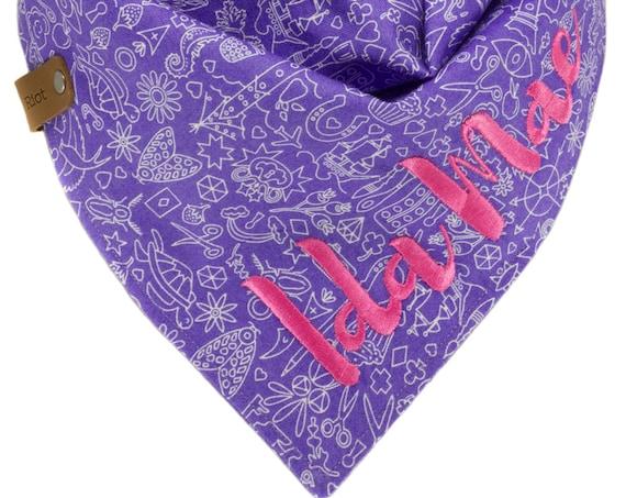 Purple Dog Bandana, Personalized Puppy Neckerchiefs, Custom Pet Scarves, Modern Reversible Unisex Doggy Scarf, Embroidered Doggie Kerchief