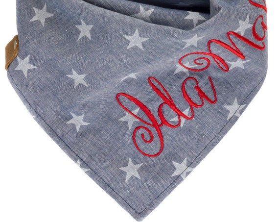 Denim Chambray Stars Puppy Scarf