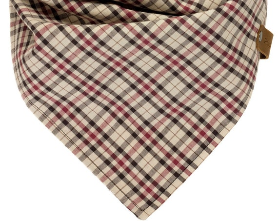 Beige Burgundy Black Plaid Puppy Bandana