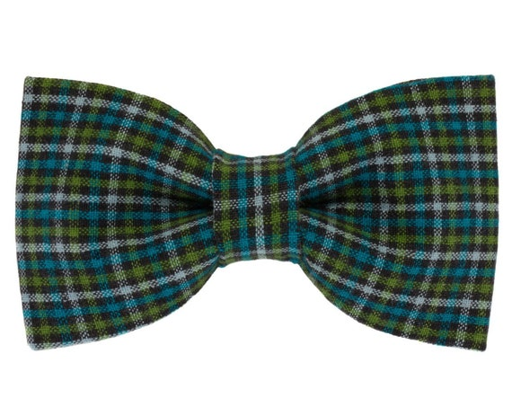 Black Green Turquoise Check Dog Bowtie