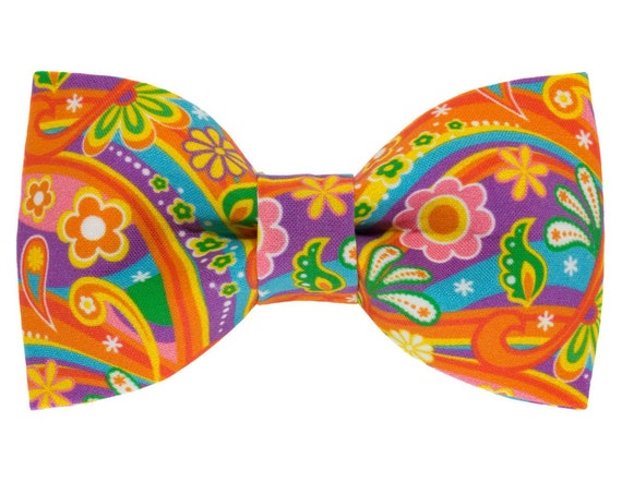 Flower Power Rainbow Dog Bowtie