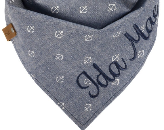 Denim Chambray Anchor Puppy Scarf