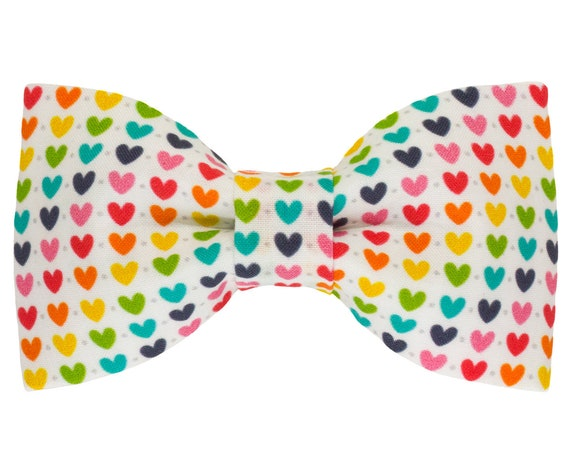 Rainbow Heart Dog Bowtie