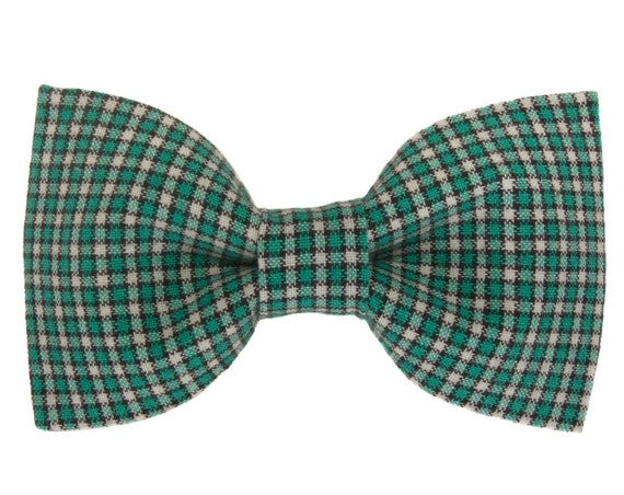 Green Checked Dog Bow Tie