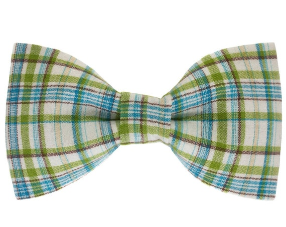 Spring Summer Plaid Dog Bow Tie