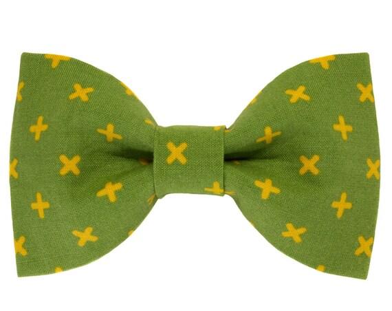 Green Yellow Swiss Cross Dog Bow Tie