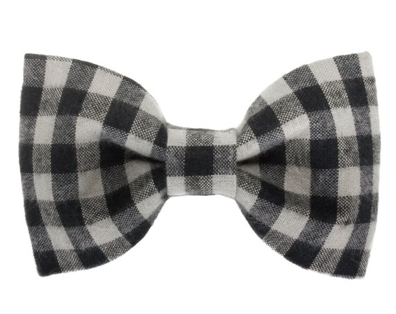 Buffalo Plaid Dog Bowtie, Puppy Bow Ties, Bow Tie for Dogs, Pet Collar Accessories, Black Gray Doggie Gift, Cute Handmade Accessory, Present