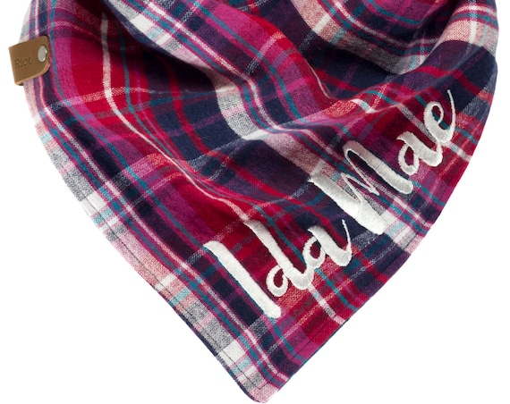 Pink Red Navy Plaid Dog Bandana