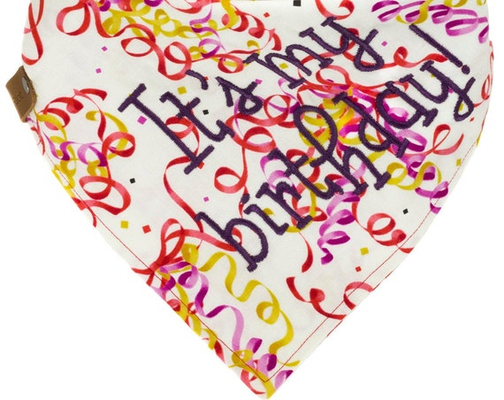Happy Birthday Dog Bandana, Celebration Puppy Scarf, Personalized Boy Doggie Bandana, Monogrammed Female Doggy Gift, Custom Girl Pet Scarf