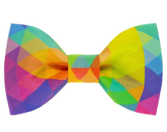 Rainbow Dog Bowtie