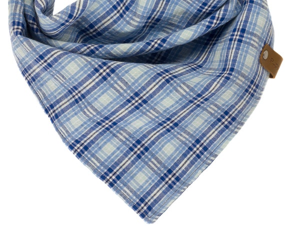 Blue Summer Plaid Dog Bandana