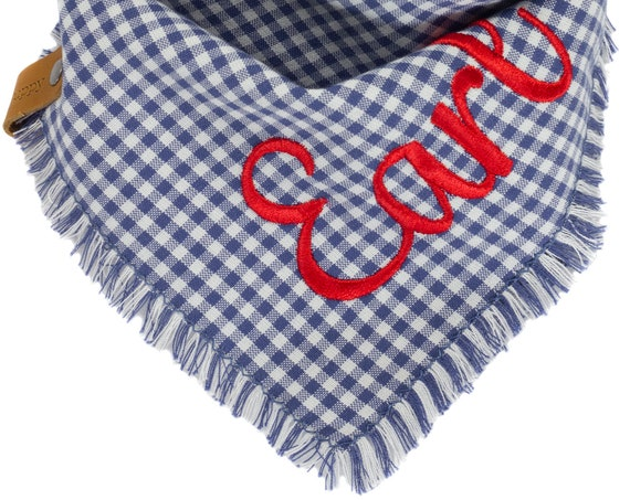 Blue Denim Gingham Dog Bandana